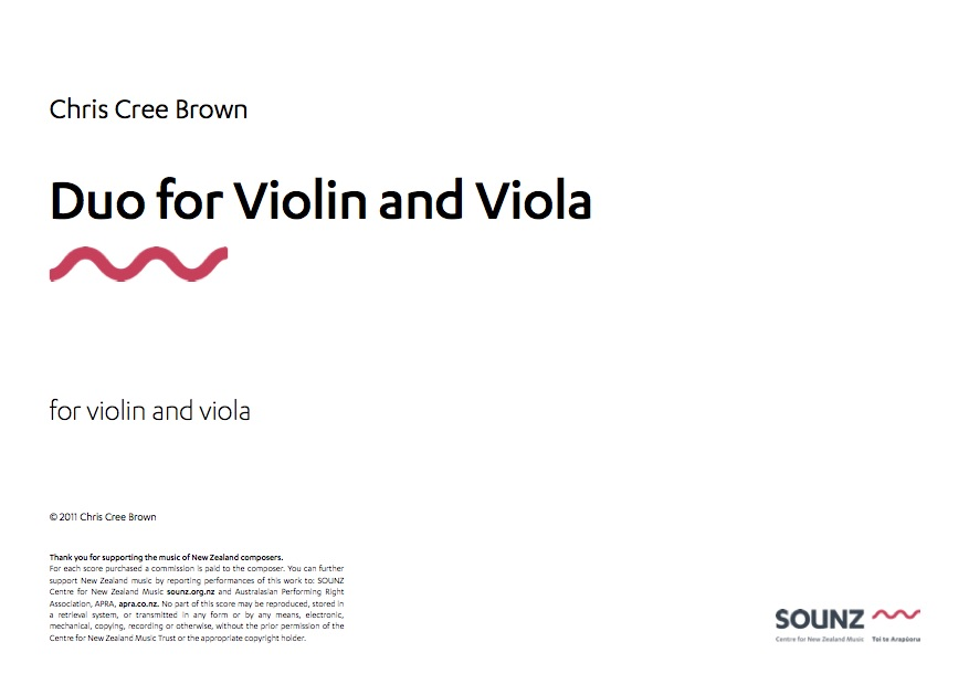 SOUNZ Chris Cree Brown: Duo for Violin and Viola