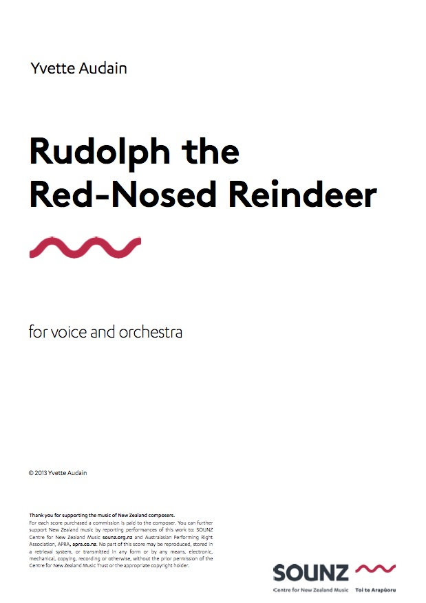 Yvette Audain: Rudolph the Red-Nosed Reindeer - downloadable PDF SCORE