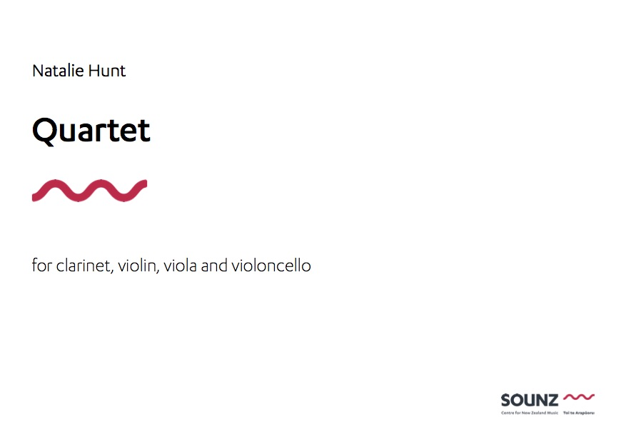 Natalie Hunt: Quartet - hardcopy SCORE and PARTS