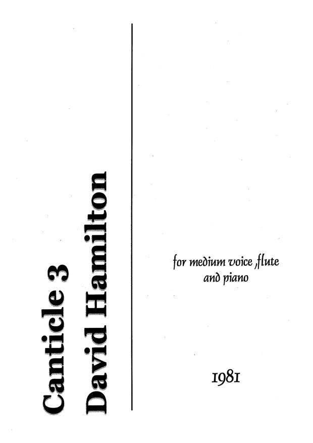 David Hamilton: Canticle 3 - hardcopy SCORE